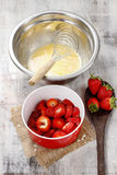 Steps of making strawberry cake Stock Photos