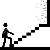 The steps. A man is climbing the stairs to reach the light. It is a stick figure vector. EPS10 Royalty Free Stock Photos