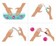 Steps manicure. Vector Illustration Stock Image