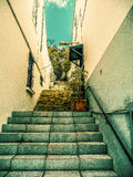Steps on the Mediterranean. Looking up backstreet stone steps in Gibralta royalty free stock photography