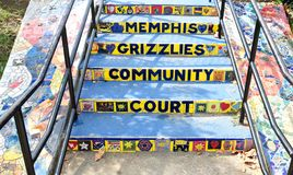 Steps at the Memphis Grizzlies Community Court, Memphis, Tennessee. Royalty Free Stock Photo