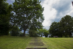 Steps in the middle of cut grass, leading to the top of the hill Royalty Free Stock Image