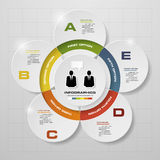 5 steps in modern design infographics diagram. Stock Image