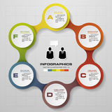 6 steps in modern design infographics diagram. Stock Image