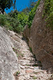 Steps in Montserrat Mountain, Catalonia, Spain Royalty Free Stock Photography
