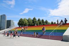 Giant Pride Flag. The steps of a New York City transformed from gray granite to the city`s largest pride flag made of rainbow vinyl royalty free stock photos