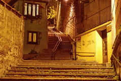 Steps at night. Old staircase in the night Royalty Free Stock Image