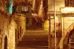 Steps at night. Old staircase in the night Stock Photography