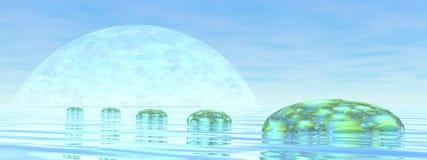 Steps on the ocean - 3D render. Fantasy stones steps upon the ocean by blue day - 3D render Stock Image
