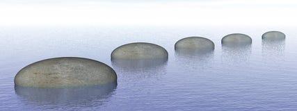 Steps on the ocean - 3D render. Grey stones steps upon the ocean - 3D render Stock Photos