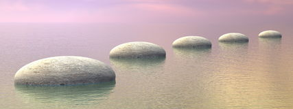 Steps on the ocean - 3D render. Grey stones steps upon the ocean by brown sunset - 3D render Royalty Free Stock Images