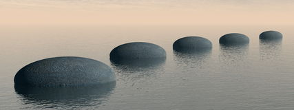 Steps on the ocean - 3D render. Grey stones steps upon the ocean by brown sunset - 3D render Stock Photography