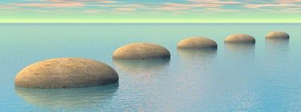Steps on the ocean - 3D render. Grey stones steps upon the ocean by pink and green - 3D render Stock Images
