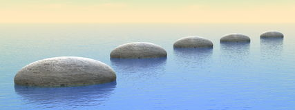 Steps on the ocean - 3D render. Grey stones steps upon the ocean by sunset - 3D render Royalty Free Stock Images