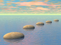 Steps on the ocean - 3D render. Grey stones steps upon the ocean by sunset - 3D render Stock Photography