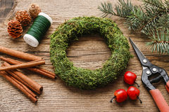 Steps Of Making Christmas Door Wreath Royalty Free Stock Image