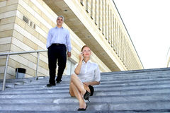 On Steps By Office Building stock photography