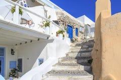 Steps in Oia village near castillo area in Santorini island Royalty Free Stock Photography