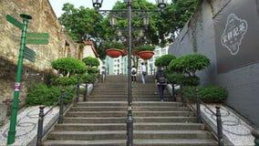 Steps in Old Taipa, Macau (timelapse) stock video