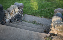 Steps In a Park. Steps made of stone and concrete in a park along Lake Pepin in MN Stock Photo