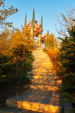 The steps and pavilion sunset Royalty Free Stock Photo