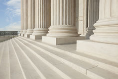 Steps and pillars of the Supreme Court building in Washington DC. Front steps and pillars of the Supreme Court building in Washington DC Stock Photo