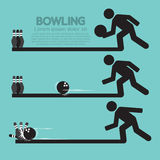 Steps Of Playing Bowling Symbol. Vector Illustration Stock Photography