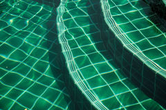 Steps into the pool from the mosaic in green. Royalty Free Stock Photo