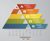5 steps presentation char in pyramid shape. graphic or website layout. Vector Stock Photography