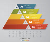 5 steps presentation char in pyramid shape. graphic or website layout. Vector. EPS10 Royalty Free Stock Photo