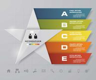 5 steps presentation template/5 options/ star shape graphic or website layout. Royalty Free Stock Images