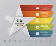 5 steps presentation template/5 options/ star shape graphic or website layout. Vector. Royalty Free Stock Photography