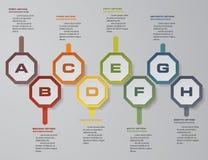 8 steps presentation template. 8 steps timeline presentation template. Royalty Free Stock Image