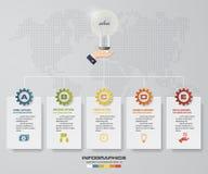 5 steps presentation template. 5 steps timeline presentation template. Royalty Free Stock Photos