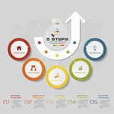 5 steps process infographics element for presentation. vector illustration