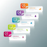 5 steps process labels infographics mockup template background Stock Images