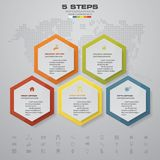 5 steps process. Simple&Editable abstract design element. Vector. EPS 10 stock illustration