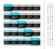 Five steps progress bar with turquoise header. Sui Stock Photos
