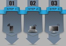 Steps of progress, blank template for infographic on your website. Number options Stock Photos