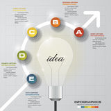 5 steps progress on light bulb idea background template. Simple&Editable for your sample text. Royalty Free Stock Image