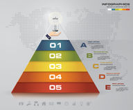 5 steps pyramid with free space for text on each level. infographics, presentations or advertising. EPS10 Royalty Free Stock Photography