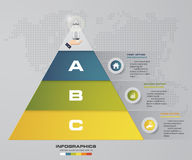 3 steps pyramid with free space for text on each level. infographics, presentations or advertising. EPS10 Stock Images