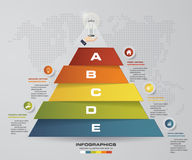 5 steps pyramid with free space for text on each level. infographics, presentations or advertising. EPS10 Stock Images