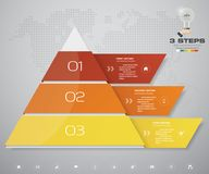 3 steps pyramid with free space for text on each level. infographics, presentations or advertising. EPS10 Stock Image
