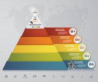 5 steps pyramid with free space for text on each level. infographics, presentations or advertising. EPS10 Stock Photo