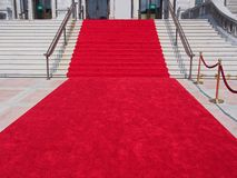 Steps with red carpet. Ready to welcome celebrities Royalty Free Stock Photos