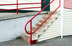Steps with Red Railing Stock Photo