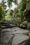 Steps and rocks in verdant spring Stock Images