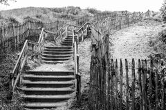 Steps in sand dunes black and white Royalty Free Stock Photos