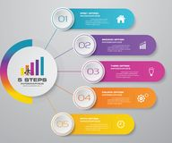 5 steps simple&editable process chart infographics element. royalty free illustration